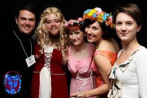 Members of the creative team all dressed up for the Love Stories Costume Party!