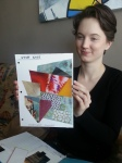 Set designer Jenna Maren shows off a colour palette at a set design meeting for Stop Kiss.